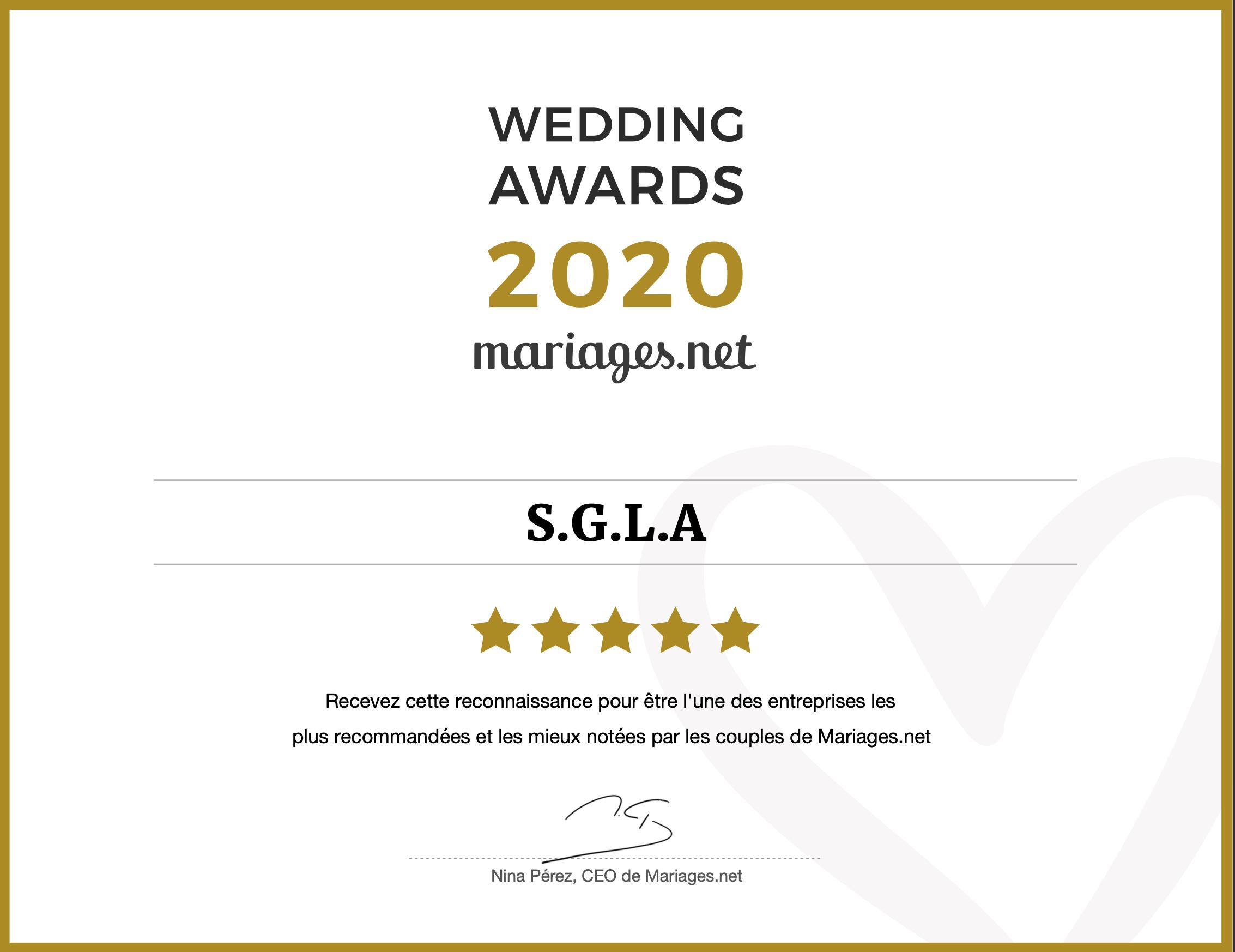 S.G.L.A obtient un Wedding Awards, le prix le plus prestigieux du secteur nuptial.